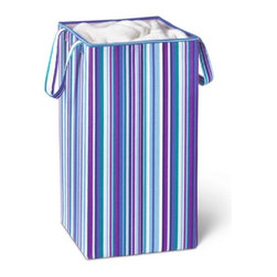 "Rectangular Collapsible Hamper With Handles - Honey-Can-Do HMP-01134 Collapsible Square Laundry Hamper, Bright Blue/Purple Stripe. Tired of not having a hamper as trendy as that of your friends? This retro-style hamper will be the talk of the town once the neighbors get a peek at this beauty. This ""shades of blue"" striped pattern creates the look you want while providing the durability and functionality that you demand from a laundry hamper. Fashioned with moisture resistant materials, the easy care exterior resists stains as well. Heavy duty straps allow you to tote this baby around the house or around the block, then fold it flat when not in use. Don't be alarmed by the ""oohs"" and ""aahs"" that follow you as you bring your worn laundry to the Laundromat or your building's laundry room. All this at a price that won't cause you to lose your shirt."