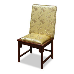 China Furniture and Arts - Rosewood Cherry Blossom Silk Chair - Simple in silhouette, this rosewood chair makes a statement in any setting. Upholstered with luxuriously golden cherry blossom design silk and combined with exquisitely hand-crafted rosewood frame, this chair is perfect as a in the dining room as a dining chair or in the office behind a desk. Constructed using traditional joinery technique. Hand-applied mahogany finish frame.