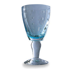 Summer Sky Wine Glass - Light Blue - Make a glass of wine into a merrier occasion with this stout stemware, the Summer Sky Wine Glass in a delicate, balmy Light Blue.  Capturing color within the gleaming width of its base, the glass has a sturdy and vivacious presentation for bringing relaxed cheer and on-trend yet timeless color to your table, its bubble pattern organically sparkling in the light.