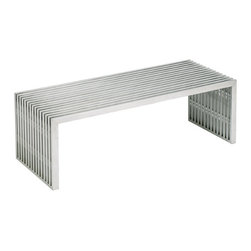 Nuevo Living - Amici Large Coffee Table - Sometimes staying inside the lines leads to real style. With its brushed finish and acrylic spacers, this stainless steel coffee table makes a strong yet elegant statement in your favorite modern setting.