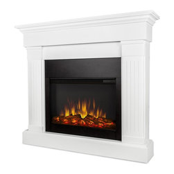 Real Flame - 47.4 in. Electric Fireplace in White Finish - Includes wooden mantel, firebox, screen, remote control and anti topple safety device. Classically trimmed. Finished with fluted columns. Realistic and built in look. Plugs into any standard outlet. 1400 watt heater. Rated over 4700 BTUs per hour. Programmable thermostat with display in fahrenheit or celsius. Ultra Bright LED technology with five brightness settings. Digital readout display with up to nine hours timed shut off. Dynamic ember effect. UL and ISTA 3A Certified. Warranty: Ninety days on mantel and one year on electric firebox. Made from solid wood, veneered MDF and powder coated steel. Assembly required. 47.4 in. W x 9.5 in. D x 41.9 in. H (87 lbs.)Unit must be anchored to a wall using the included hardware. The Crawford mantel is the next generation of electric fireplace.