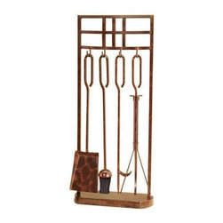 """Rustic Copper Fireplace Tool Set with Rectangle Stand - This handsome set of functional fireplace tools adds a splash of brass and a dash of Mission Style to your hearth. Set includes stand, poker, brush, shovel, and tongs.Solid brass and steel construction.Rustic copper finish.31"""" high."""