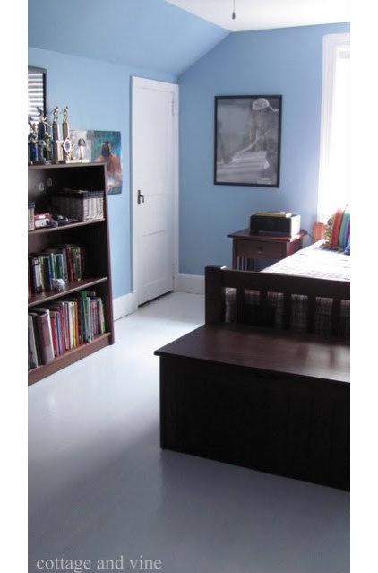Eclectic Bedroom Painted Floors