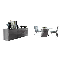 Rossetto - Rossetto Sapphire 6 Piece Glass Top Dining Table Set in Grey - Rossetto - Dining Sets - R3482010000646PcDiningSetPKG