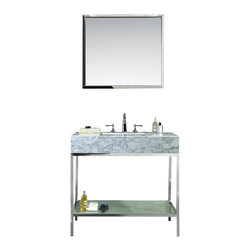 "Ariel - Brightwater 36"" Single-Sink Bathroom Vanity Set - Inspired by Mid-Century architecture and modern flair, this Brightwater vanity set features an open-back industrial design with a polished stainless steel base and versatile white carrera marble countertop with built-in sink.  Storage is provided through a frosted tempered glass shelf on the lower base."