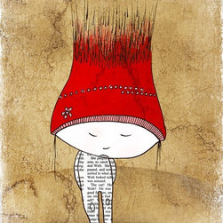 Artollo - Kids Wall Art Big Red Hat A2 - 16.5x23.3 - Gallery quality paper print from hand drawn original, frame not included