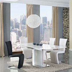 Creative Furniture - Blanch White High Gloss/Chrome Extendable 7 PC Dining Set (Table and 6 Chairs) - Amazing dining collection will easily blend with any modern decor. Now you can host a large dinner party without anxiety with this modern and stylish Blanch White High Gloss/Chrome Extendable 7 PC Dining Set (Table and 6 Chairs). With a high gloss MDF top, the table easily extends with the extra leaf.    Set includes Blanch Dining Table and 6 Barcelona Chairs.    Features: