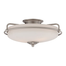 Quoizel - Quoizel Antique Nickel Flush Mounts - SKU: GF1617AN - This understated style provides a stylish, soft modern look for most any room. The etched shade is painted white inside, diffusing the light evenly and illuminating your home with a soothing glow. It is held in place by softly curved arms and is available in three finishes: Antique Nickel, Polished Chrome and Palladian Bronze
