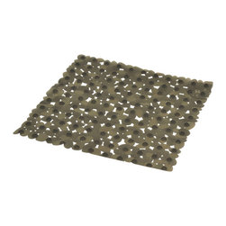 Shower Mat with Holes PVC Grey - This shower mat with holes is in PVC and is mildew-resistant. Designed to look and feel comfortable with its holes, it inhibits the growth of stain and odor-causing mold and mildew on the tub mat. This square bath mat features skid-resistant suction cups that should be applied to smooth surfaces only for optimal safety. This beautiful bath rug brings an edgy style to your shower while providing a safe bath surface. Machine wash cold and no dryer. Length 20-Inch and width 20-Inch. Color grey. This fashionable shower mat adds a stylish element to your bathroom! Complete your bath decoration with other products of the same collection. Imported.