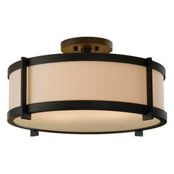Murray Feiss - Murray Feiss Stelle Transitional Semi Flush Mount Ceiling Light X-BRO272FS - Make your home more inviting with this Stelle transitional semi-flush mount ceiling light by Murray Feiss. The simple steel frame in an oil-rubbed bronze finish that surrounds the cream color linen fabric shade are what make this piece so appealing. Use it in your design if you're looking for something simple yet striking.