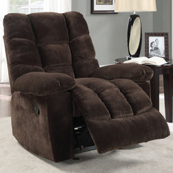 Coaster - Glider Recliner, Chocolate - Relax comfortably on top of textured padded velvet. This glider recliner in chocolate is the perfect addition to your living room.