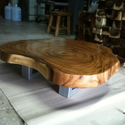 Reclaimed Acacia Wood Round Solid Slab Coffee Table By Flowbkk