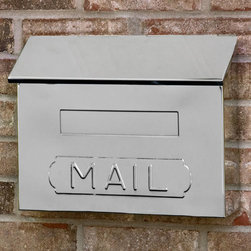 "Horizontal ""MAIL"" Wall-Mount Mailbox - Polished Stainless Steel - A stylish wall mount mailbox, this stainless steel box features a hinged lid and ""MAIL"" imprinted on the front. The stainless steel finish resists corrosion from the elements to withstand years of use."