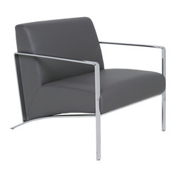 Nuevo Living - Risa Leather Lounge Chair , Grey - Risa Lounge Chair features luxurious, high quality full leather upholstery, and chrome steel frame. It is perfectly designed for relaxing or waiting, because of its ergonomic seating comfort. Risa Lounge Chair available in your choice of White, Black and Grey Leather.