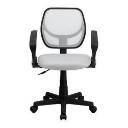 Flash Furniture - Mid-Back White Mesh Task Chair and Computer Chair with Arms - This ventilated mesh computer chair will give you the comfort you desire throughout the day. If you are looking for a sleek, functional chair for your work or home office, a mesh office chair may be right for you. Chair features a breathable mesh back with a comfortably padded mesh seat that easily adjusts.