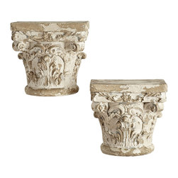 GRECIAN WALL BRACKET – DORIC - NEW - Reminiscent of the ruins of Ancient Greek architecture, these wall brackets add function to your foyer or living room with a classic style. Smaller than our Grecian Wall Shelf (T11540), these resin brackets are just right for displaying your favorite small pieces. Handpainted with an aged water-based finish and distressed, to get that antiqued look. Variances in color may occur.