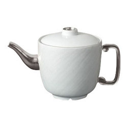 "L'Objet - L'Objet Han Platinum Teapot - The Han collection recalls the first of China's four great dynasties, a period of tremendous artistic achievement. Each piece recollects that rich and prosperous era while retaining a modern design. Limoges Porcelain Platinum. Dimensions: 9.5"" x 5.5"", 34oz. L'Objet is best known for using ancient design techniques to create timeless, yet decidedly modern serveware, dishes, home decor and gifts."
