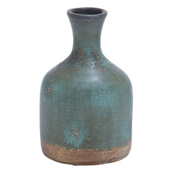 "Benzara - Durable Terracotta Bottle Vase with Distinctive Pattern - This terracotta ceramic vase is a perfect pick if you don't want to decorate your interiors from the regular run G��of G��the G��mill products. Your exquisite home needs just this exclusive edition for a vase. Made of the finest quality ceramic and lavished with terracotta, this vase boasts of robustness, durability and a long life span. It is sure to be with you with retained charm for years together. Perfect to be kept both indoors and outdoors, this ceramic vase is a charming addition to your decor. Its green color with a golden finish at the bottom and narrow neck offers it a charming visual appeal and gets it admiring glances by one and all.; Useful with attractive looks; Dainty and elegant; Made of high quality ceramic; Weight: 8 lbs; Dimensions:8""W x 8""D x 12""H"