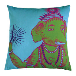 "KOKO - Bazaar Pillow, Turquoise, 22"" x 22"" - A little bit of the Hindu god of auspicious beginnings and good fortune would be a welcome addition to any home! The bright colors in this pillow are happy too. You could mix this with a collection of prints and solids for an eclectic seating area."