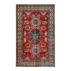 """ALRUG - Handmade Red/Rust Oriental Kazak Rug 5' 6"""" x 8' 9"""" (ft) - This Afghan Kazak design rug is hand-knotted with Wool on Cotton."""