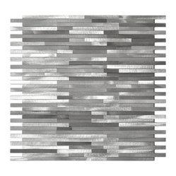 Gray Blends Thin Lines Aluminum Mosaic Tile Sample