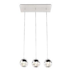 ET2 Lighting - Polished Chrome Reflex 3 Light 1 Tier LED Linear Chandelier - Product