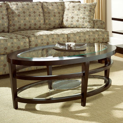 "Hammary - Urbana Oval Cocktail Table in Dark Merlot Finish - ""If you're looking for furniture that is sleek and sophisticated"