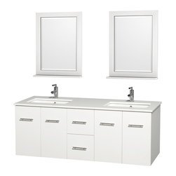Wyndham Collection - Centra Bathroom Vanity in White,White Stone Counter,UM Sink,24 in. Mirror - Simplicity and elegance combine in the perfect lines of the Centra vanity by the Wyndham Collection. If cutting-edge contemporary design is your style then the Centra vanity is for you - modern, chic and built to last a lifetime. Available with green glass, pure white man-made stone, ivory marble or white carrera marble counters, with stunning vessel or undermount sink(s) and matching mirror(s). Featuring soft close door hinges, drawer glides, and meticulously finished with brushed chrome hardware. The attention to detail on this beautiful vanity is second to none.