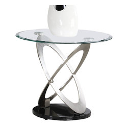Homelegance - Homelegance Firth Round Glass End Table in Chrome and Black Metal - Intersecting hand-brushed chrome ovals are set atop rounded black metal bases and serve to support beveled glass tops in the Firth collection. Add a touch of quality and contemporary style to your home with this sleek design which melds glass, chrome and black metal into a classic contemporary design.