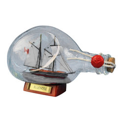 """Handcrafted Model Ships - Bluenose Sailboat in a Bottle 7"""" - Decorative Ship in a Glass Bottle - Fully assembled � ready for immediate display"""
