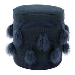 "V Rugs & Home - V Rugs & Home Mia Pouf - The V Rugs & Home Mia pouf intrigues with mod character. Exuding eclectic charm, this cylindrical navy foot rest features tassels and braided embellishments for textured style. 16"" Dia x 18""H; 100% Belgian linen"
