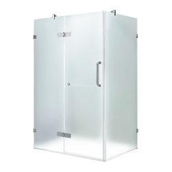 "VIGO Industries - VIGO 32 x 48 Frameless 3/8"" Shower, Frosted/Brushed Nickel, Left - Update your bathroom with this uniquely stylish and totally frameless VIGO rectangular-shaped shower enclosure"