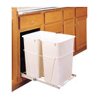 "Rev-A-Shelf - Rev-A-Shelf RV-18PB-2 S Double 35 Qt Pullout Waste Container - White - This pullout waste unit is a convenient system to make use of your under the counter space for trash and recycling. The unit installs with just four screws, and comes complete with a sturdy white wire frame and (2) 35 Quart white waste containers. The Rev-A-Shelf RV-18PB-2 S features 100lb rated full-extension ball-bearing slides for easy slide in and out operation. Size Specifications: 14-3/8"" W x 22"" D x 19-1/4"" H. Please make sure you have a minimum cabinet opening of at least 14-1/2"" W x 22-1/8"" D x 19-3/8"" H to ensure a proper fit."