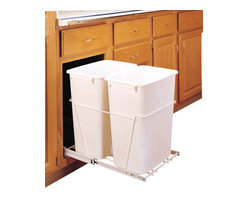 """Rev-A-Shelf - Rev-A-Shelf RV-18PB-2 S Double 35 Qt Pullout Waste Container - White - This pullout waste unit is a convenient system to make use of your under the counter space for trash and recycling. The unit installs with just four screws, and comes complete with a sturdy white wire frame and (2) 35 Quart white waste containers. The Rev-A-Shelf RV-18PB-2 S features 100lb rated full-extension ball-bearing slides for easy slide in and out operation. Size Specifications: 14-3/8"""" W x 22"""" D x 19-1/4"""" H. Please make sure you have a minimum cabinet opening of at least 14-1/2"""" W x 22-1/8"""" D x 19-3/8"""" H to ensure a proper fit."""