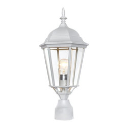 Maxim Lighting - Maxim Lighting Westlake Traditional Outdoor Post Lantern Light X-TW5001 - The eye works its way down from the classic finial to the traditional tapered shape of this handsome Maxim Lighting outdoor post lantern light. From the Westlake Collection, the classic details are accentuated by an unexpected White finish over the die cast aluminum frame. This traditional outdoor lighting fixture also features clear beveled glass panels that add to the appeal.