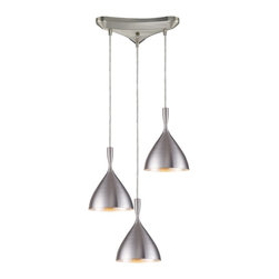 Elk Lighting - Elk Lighting Spun Aluminum Transitional Pendant Light X-MLA3/24071 - Spun Aluminum 3-Light Pendant In Aluminum