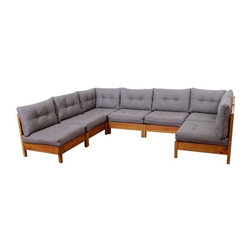 Used Restored Vintage Modular Sectional Sofa by Founder - Vintage modular sofa sectional by Founders. Solid pine frame with plush cushions. Restored with new gray linen fabric. Be the first to enjoy the new upholstery. Sofa consists of seven modules. There are five armless modules of equal size. Two corner modules of equal size are also included. One may arrange the pieces into one large pit group couch. Otherwise break apart the pieces and configure to your content. There are enough pieces to make an entire living room seating solution consisting of a full size sofa, love seat and two chairs. An endlessly versatile set!