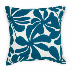 5 Surry Lane - Modern Blue Floral Indoor Outdoor Pillow - Toss it on a lounge chair on your deck, or throw it on your living room couch; this summery floral pillow evokes an island feel. It comes in blue or yellow and white with in easy-to-wash polyester with a down-feather insert.
