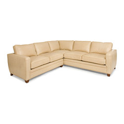Randall Allan - Jersey Sectional - Don't sweat it. You can gather around this buff blonde beauty without paying gym fees. It will work out in just about any space with its streamlined, modern shape, boxy arms and relaxed back and seat cushions. Covered in high quality, buff-colored leather, it's trim and toned and ready to turn heads.