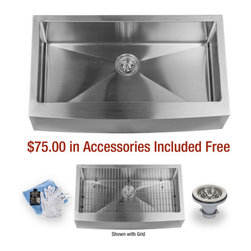 """Miseno - Miseno 36"""" Undermount Single Basin Stainless Steel Kitchen Sink Apron Front 16G - Included Free with Your Miseno Sink:"""