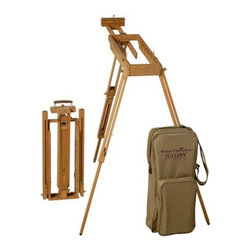 Martin Universal - Jullian Rexy French Watercolor Easel with Paint Box and Strapped Canvas Bag Incl - Shop for Art Easels from Hayneedle.com! Don't lower your standards when you're on the go - the Jullian Rexy French Watercolor Easel with Paint Box and Strapped Canvas Bag Included has everything you expect from your easel. Made from oiled hardwood this French-design watercolor easel features adjustable-height tripod legs that go from standing to table height quickly and easily. It can accommodate a canvas up to 34 inches high with angle adjustment from completely flat to beyond vertical. An integrated removable paint box is the perfect place for storing your paints and supplies and an included canvas bag lets you take the whole thing nearly anywhere. Made in France with high-quality components and all-brass hardware a Jullian series easel is essential to your art.About Martin Universal/F. Weber Co.For a century and a half the name Martin Universal and F. Weber Co. have been synonymous with quality art materials. Established in 1853 in Philadelphia Pa. the Martin/Weber is the oldest and one of the largest manufacturers of art materials in the United States.