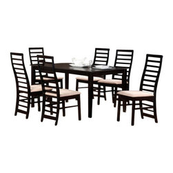 "Casa Blanca - 7-Piece Victoria Collection Espresso Finish Wood Dining Table Set - 7-Piece Victoria collection espresso finish wood dining table set with long slatted backs and fabric seats. This set includes the table with tapered legs and 6 side chairs upholstered with a fabric seat and long slatted backs. Table measures 36"" x 63"" X 30"" H. Chairs measure 38"" H to the back. Some assembly required."