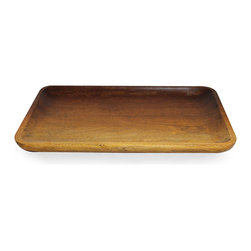 """Ombre Mango Wood Large Rectangular Tray - A simple and natural beauty suffuses the Ombre Mango Wood Large Rectangular Tray. The generously scaled tray is perfect for presenting your guests with hors d'oeuvres, assorted nibbles, or an after-dinner collection of confections. The gently raised rim allows for easy containment of contents. As """"green"""" as it is gracious, the tray is fashioned from ecologically harvested mango wood."""