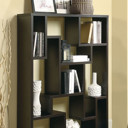 Coaster - 800316 Bookshelf - Create a unique focal point in your room as well as keep it organized with this compartmentalized bookshelf in cappuccino. Featuring various sized open storage spaces making it easy to display and store everything you want.