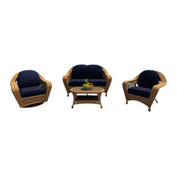 Forever Patio - Catalina 4 Piece Traditional Sofa Set, Straw Wicker, Navy Cushions - The elegant 4 Piece Catalina Sofa Set with Blue Sunbrella Cushions (SKU FP-CAT-4SS-ST-CN) is perfect for entertaining company or simply relaxing in the comfort of your own patio. This set features Straw wicker with a full round design that creates a complex and luxurious look. Every strand of this wicker is made from High-Density Polyethylene (HDPE) and is infused with its natural color and UV-inhibitors that prevent cracking, chipping and fading ordinarily caused by sunlight. The set is supported by a thick-gauged, powder-coated aluminum frame that makes it extremely durable and resistant to corrosion. Also included are cushions covered in fade- and mildew-resistant Sunbrella® fabric. The cushions are incredibly plush, and the generous seat sizes ensure your comfort for hours of outdoor relaxation.