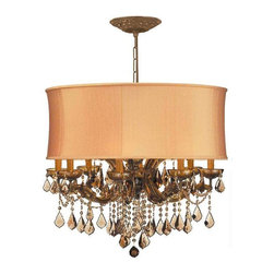 Crystorama Lighting - Crystorama Lighting 4489-AB-SHG-GTM Brentwood Traditional Chandelier - Crystorama Lighting 4489-AB-SHG-GTM Brentwood Traditional Chandelier In Antique Brass With Golden Teak Hand Cut Crystal