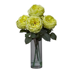 Nearly Natural - Fancy Rose with Cylinder Vase Silk Flower Arrangement - The Rose is beauty and elegance personified. And that's exactly what you'll sense when you gaze upon this striking 5 bloom bouquet. Strong, green stems (replete with thorns!) give way to a lush bed of leaves, from which the supple blooms burst. A beautiful cylinder vase w/ faux water completes the picture. Adds beauty to any room, and also makes a great gift.