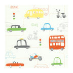 Brewster - Moto London Orange British Autos Wallpaper - This wallpaper boasts all the excitement of a bustling London street. Your child will love the look, and you'll love the easy-to-apply pre-pasted vinyl that's tough enough to scrub.