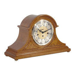 HERMLE - Amelia Mantel Clock With Quartz Movement and Classic Oak Finish - Beautifully styled tambour clock in a classic oak finish
