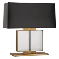 Robert Abbey - Sloan Table Lamp - A truly luxurious lighting option. From the aged brass finish to the embedded genuine lead crystal panels, this two-light table lamp is the epitome of elegance. All that's left is for you to choose between the ivory silk pleated shade or the black parchment shade to coordinate with your room's decor.